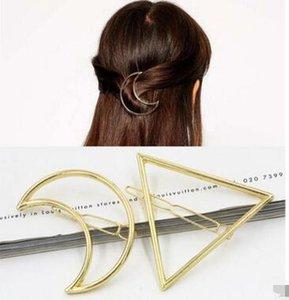 Nova Promoção Na Moda Círculo Do Vintage Lip Moon Triângulo Cabelo Pin Clip Hairpin Meninas Bonitas de Metal Jóias Acessórios 60 pcs