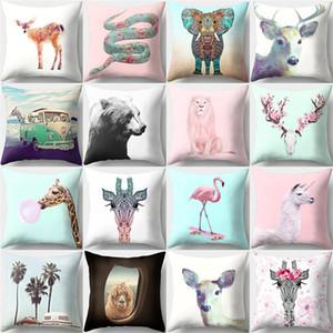 18 * 18 pulgadas de poliéster piel de melocotón cuadrado almohada cubierta Deer Lion patrón decoración del hogar funda de almohada Throw Pillow Cover
