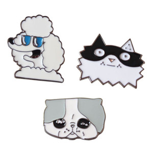 Popular Cartoon Cute Funny Cat Dog Enamel Brooches Pins Small Size Lapel Pin For Women Mens Suit Shirt Backpack Hat Drop Shipping