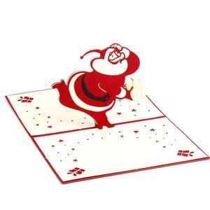 Трехмерный Санта-Клаус 5шт фестиваль открытка 3D открытка ручной работы Новый год Рождественская открытка