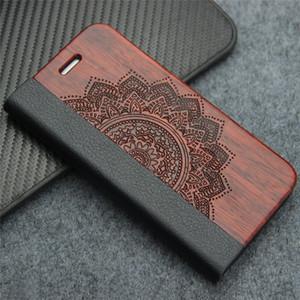 삼성 갤럭시 S8 S7 가장자리 S9 플러스 자연 레트로 럭셔리 가죽 플립 케이스 아이폰 7 8 플러스 스탠드와 실제 나무 전화 커버