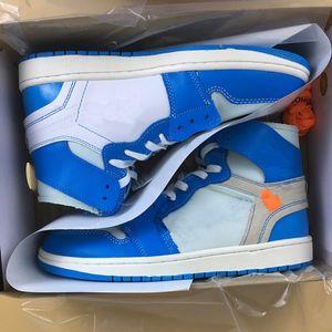 Con la caja 1 UNC BLANCO AZUL ALTO Hombres Zapatillas de baloncesto I women Sports Sneakers trainers Wholesale size 5-13