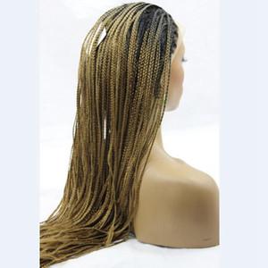 Longue Blonde Perruque Tressée Synthétique Ombre Blonde Dentelle Perruques Avant Perruques Résistant À La Chaleur Deux Tons Dentelle Avant Perruques 1B 27 Pour Les Femmes