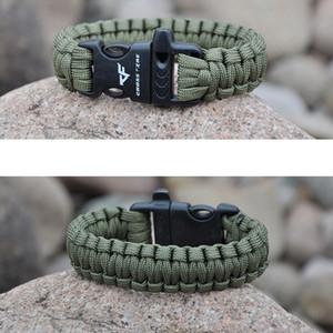 Mão pulseira trançada de Moda de Nova Whistle Buckle pulseiras Homens Charme Paracord Masculino Enrole Esporte pulseira colorida