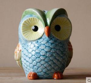 coloré coruja ceramica figurine hibou décor à la maison en céramique Piggy Bank ornement artisanat chambre décoration porcelaine animal figurine