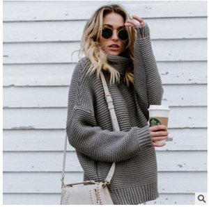 European And American Hot Sells Women's Soild Panelled Sweater Long Sleeves Turtle Neck Autumn Winter 180803-01