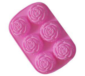 6 심지어 장미 꽃 실리콘 케이크 금형 케이크 도구 심장 젤라틴 비누 젤리 금형 음식 학년 주방 도구 24 * 16.5 * 3cm