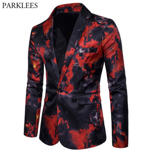 Mens Red Flame Printed Blazer Jacket 2018  Casual Slim Fit Single Button Blazer Men's Suits and Blazers Terno Masculino 3XL