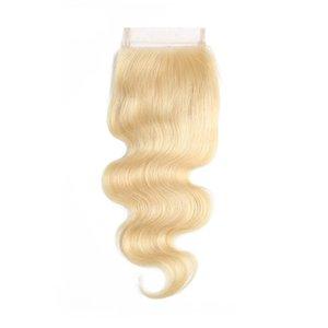 613 блондинка бразильские волосы шнурка закрытия девственницы человеческих волос объемной волны 4X4 закрытия человеческих волос