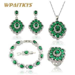 WPAITKYS женщины серебряный цвет ювелирные наборы зеленые камни ожерелье кулон браслеты серьги кольца бесплатная подарочная коробка