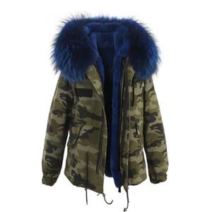 Cappotti invernali da donna Jazzevar marca Blu pelliccia di procione bordatura in pelliccia di coniglio blu Camouflage shell giacche in pelliccia parkas Australia nuova zelanda