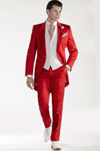 Custom Design Red Tailcoat Groom Tuxedos Peaked Lapel Best Men&039;s Wedding Dress Prom Holiday Suit Custom Made