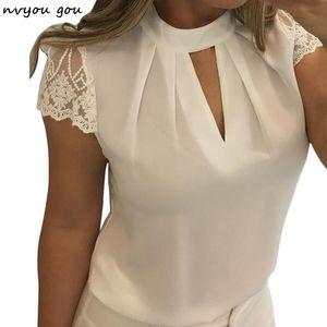 Nvyou gou donne sexy hollow chiffon camicetta solido basamento delle donne casual manica corta splice pizzo blusas mujer de moda 2018 più il formato