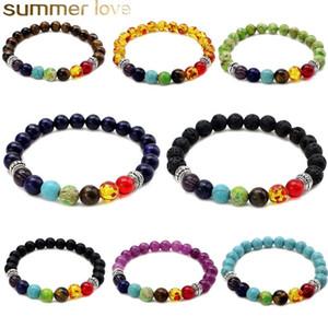 Neue 8mm Runde Lava Rock Tiger Eye Perlen Armbänder für Frauen Männer Heilung 7 Chakren Naturstein Elastische Yoga Buddha Armband