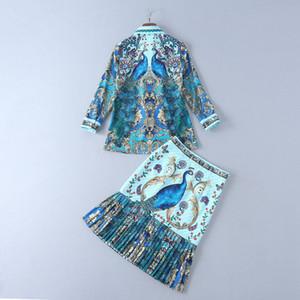 2019 Primavera 4/5 Manga Cuello de solapa Estampado con cinta Tie-Bow Top Blusa camisa + Conjuntos de falda plisada Luxury Runway Dos piezas 2 piezas M2615S