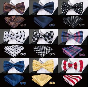 Мужские лук галстук мужчины шелковой галстуки-бабочки дизайнер для мужчин Классический Шелковый Hanky Запонки жаккарда сплетенные Оптовая прополка бизнес партии бесплатной доставкой