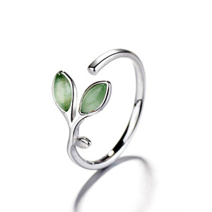 Simple Leaf Ring Female Opening Fresh Fashion Cat-eye Tenero Green Ring Student Girlfriends Sisters Anelli di gioielli creativi