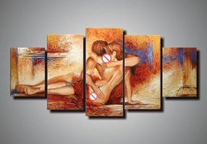 hand painted wall panel nude art oil painting sexy modern abstract artwork 5 panel wall art canvas unique gifts Kungfu Art