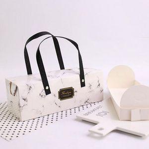 우아한 대리석 디자인 종이 상자 핸들 케이크 상자 베이커리 포장 상자 25 * 9.3 * 8.9cm 100pcs / lot 무료 DHL 배송