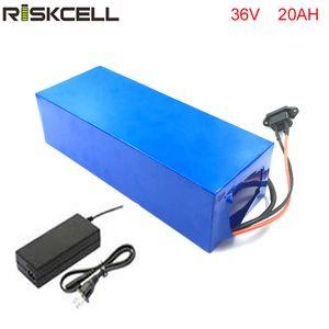 trasporto libero di TNT 1pcs / lot 36v 20ah 1000W batteria della bicicletta elettrica agli ioni di litio con custodia in pvc, caricabatterie