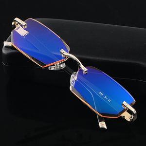 Fashion Eyeglasses Diamond Trimming Cutting Rimless Eyeglasses Anti Blue Light Reading Glasses Frame for Men Eyewear
