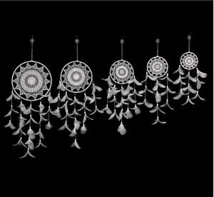 Toptan Beyaz Dream Catcher Net Ev Tüy Dreamcatcher Yatak Düğün Dekorasyon Dromenvanger Duvar El yapımı Yüksek Kalite Asma