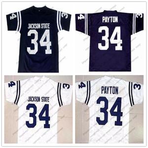 NCAA Jackson Eyalet Kaplanları # 34 Walter Payton Lacivert Retro Jersey JSU CHI Kolej Futbol Beyaz Turuncu Vintage Erkekler Gençlik Çoc ...