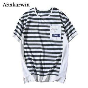 Лето Мужчины Tshirt Мода Urban Casual Striped 5 цветов Плюс Размер M ~ 4XL Короткие рубашки мужские Сыпучие с коротким рукавом футболки Топы