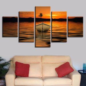 Wall Art Picture HD Impresión en lienzo 5 piezas Mountain Lake Ship Tree Hermosa Sunset Scenery Paintings Modular Bedroom Decor