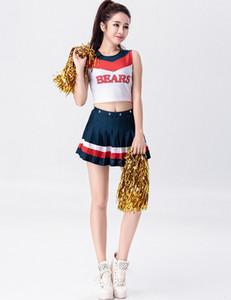 Костюм болельщиков средней школы 2018 года Hot Sexy Girls Аплодисменты Костюм Halloween Party Uniform Top с юбками