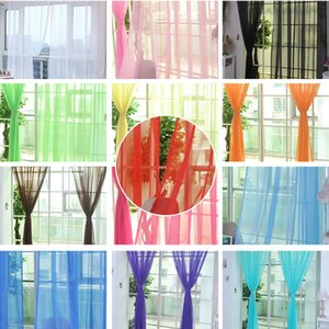 거실 용 현대 커튼 Cortinas 1pc Pure Color Tulle Door 창 커튼 드레이프 패널 Sheer Scarf Valances 200x100cm