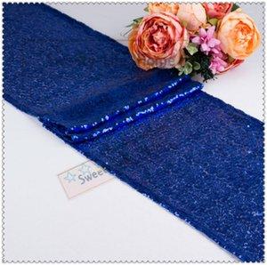 Livraison gratuite Mariage Nice Sequin chemin de table Royal Blue Glitz Table Runner Table coureur pour les événements de fête