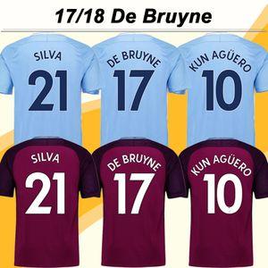 2017 18 De Bruyne Soccer Jersey Kun Aguero Silva Casa Away Mens Football Kit Camicie Top Thailandia Qualità Toure Yaya Kompany Breve maglie