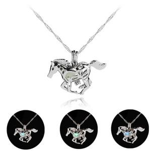 Luminoso que brilla en el Caballo Oscuro Collar de Plata Caballo Unicornio Colgante Chocker cadena de Joyería de Moda para Las Mujeres Envío de La Gota