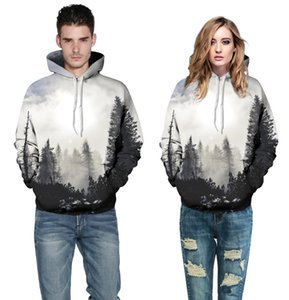 2017 autumn and winter new Style Forest Galaxy Unisex Realistic 3d Digital Pullover Hot Sale Sweatshirt Hoodie Hooded Sweatshirt