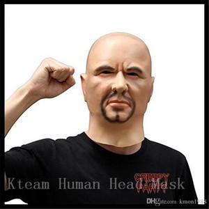 Top Grado Artificial Hombre Máscara de látex Capucha Por encima Pelucas barba Piel humana Disfraz Broma Disfraz de maquillaje de Halloween Máscara de silicona realista Máscara