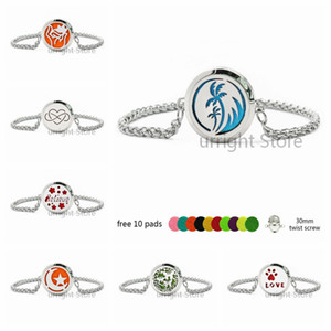 Love paw coconut tree 316 L stainless steel Essential oil Diffuser Locket bracelet 30mm twist screw locket with Wheat chain bracelet 10pads