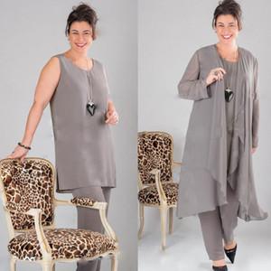 Elegant Grey Madre della sposa Abiti manica lunga Plus Size Mother Of The Bride Pantaloni Abiti Abiti con giacca Abiti da sera realizzati dal cliente
