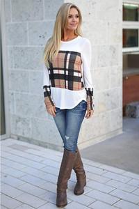 T-shirt col rond à manches longues pour femmes européennes et américaines, 2018, automne et hiver