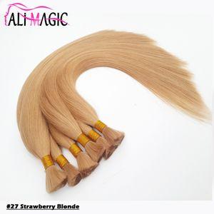"""Fraise Blonde En Vrac Humain Cheveux Pour Tresser 18 """"20"""" 22 """"24"""" Remy Cheveux Raides Européens 100% Naturel Cheveux Crus # 22 # 27 12couleur En Option"""