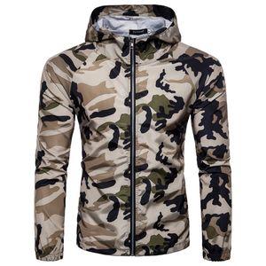 fan militaire Camo Jackets Brave hommes automne printemps manches longues armée imprimé camouflage occasionnels tricot de coton vert Fermeture éclair à capuchon Lapel-vêtement