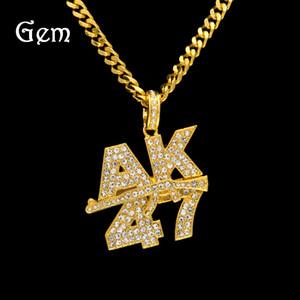 Мода хип-хоп ювелирные изделия AK47 кулон ожерелья Для мужчин позолоченные пистолет-пулемет Шарм хип-хоп аксессуары