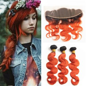 Dark Roots Orange Ombre Body Wave Bundles de cheveux avec dentelle Frontale Fermeture 1B Orange Deux tons Ombre Hair Weaves de cheveux avec frontale