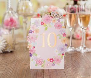 Wedding Place cards Laser Cut Fiori Tabella di nozze Numero Nome Luogo Carte Luogo romantico Carta di nozze Forniture