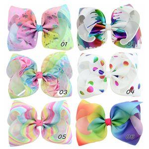 8 inch Rainbow Jojo Bows for Girls Jojo Graffiti Ribbon Hair Ornaments Trendy Kids Hair Accessories Jumbo Rainbow Hair Bows On Alligator Cli