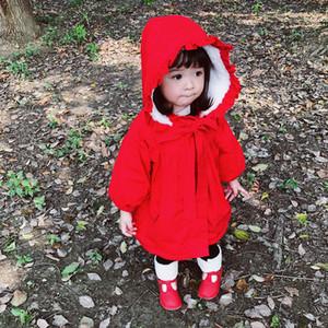 Küçük Kırmızı Başlıklı Kız Küçük Kırmızı Başlıklı Bebek Ceket Yarasa benzeri Gömlek Çocuk Polar Kızlar Kırmızı Pelerin Ceket Panço Kış Ceket Parti Elbise
