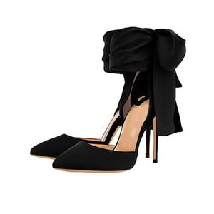 Scarpe da ufficio da donna grandi misure tacchi alti punta a punta in raso 12 cm moda papillon fondo rosso scarpe da banchetto da donna nero fucsia