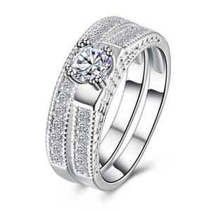 Round Brilliant Cubic Zirconia Solitaire Engagement Wedding Ring Band Bridal Set