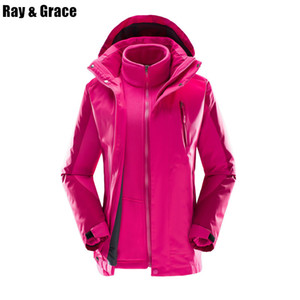 Ray Grace Winter Frauen 3 in 1 wasserdichte warme Wanderjacke Thermal Antistatic Camping Outdoor Sport Windjacke Fleece Mantel Y1893006