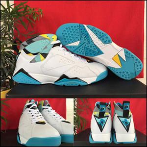 Venta al por mayor Men 7 VII Casual Shoes Barato Good Quality Men N7 White Ice Blue-Dark Turquoise 744804-144 New Casual Shoes
